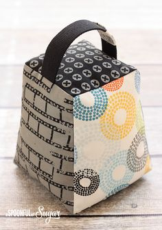 Contempo Door Stop Pattern by A Spoonful of Sugar made using Reel Time fabric by Zen Chic