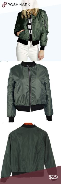 Trendy Bomber Jacket Bomber Jacket, Long Sleeve Casual Basic. Thin material. Size M Bust: 40inch Jackets & Coats Jean Jackets