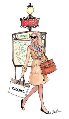 illustration of inslee chanel fashionista at the metro Classy girl # hermes scarf coat Illustration Parisienne, Illustration Sketches, Paris Illustration, Moda Fashion, Fashion Art, Fashion Design, Chanel Fashion, Paris Fashion, Modelos Fashion