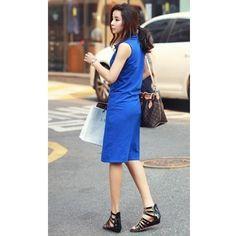 Korean Style V-Neck Sleeveless Women Cotton Summer Black Dress One... ($11) via Polyvore