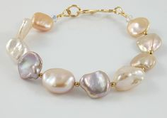 Keshi pearl bracelet freshwater natural color by SimplyAdorned4U, $80.00