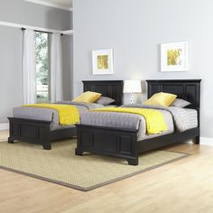 This elegant Home Styles Bedford bedroom furnishing set, featuring two twin beds and one nightstand, is perfect for a room shared by two siblings or in a guest bedroom. Handsome, black-finished pieces are crafted from hardwood solids and engineered wood. Twin Bedroom Furniture Sets, Kids Bedroom Sets, Bedroom Furniture Stores, Home Bedroom, Living Room Furniture, Bedroom Decor, Girls Bedroom, Master Bedroom, Kid Furniture