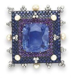 A sapphire, diamond, violet sapphire and pearl brooch, by Jar- via Alain Truong
