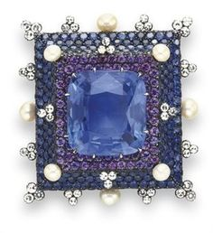Sapphire and pearl Brooch by JAR