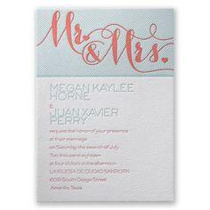 Hearts and Stripes - Letterpress Wedding Invitation at Invitations By Dawn