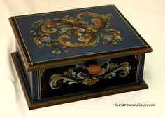 Blue box painted in Telemark style by Turid Helle Fatland, Norway.