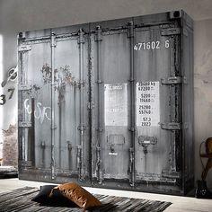 Details Zu Kleiderschrank Container Schrank In Grau Industriedesign Vintage  Loftmöbel