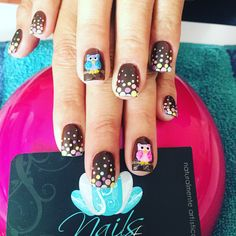 Owls and dots! Owl Nails, Minion Nails, Nail Spa, Manicure And Pedicure, Pedicure Ideas, Pedicures, Nail Ideas, Funky Nail Art, Funky Nails