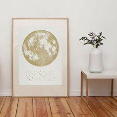 Mondphasen-Druck - Weiß/Gold - alt_image_two