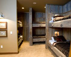 winter cabin bedroom ideas - Home Decorating Trends - Homedit - Hunting Lodge Decor Design Ideas, Pictures, Remodel, and Decor - page 12 Cabin Homes, Log Homes, Hunting Lodge Decor, Hunting Lodge Interiors, Modern Bunk Beds, Loft Beds, Rustic Bunk Beds, Cabin Bunk Beds, Bunk Rooms
