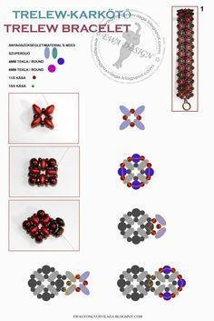 Ewa gyöngyös világa!: Trelew karkötő minta / Trelew bracelet pattern
