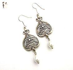Antique Silver Pearls earrings oxidized Chandeliers with white Teardrops wedding dangles - Wedding earings (*Amazon Partner-Link)