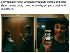 """""""Peter Kavinsky went to the other side of town to get Lara Jean some Yakult and I can't even get a text back. Go To Movies, Movies And Tv Shows, Teen Movies, Cute Relationships, Relationship Goals, Love Is Scary, Peter K, Lara Jean, World Quotes"""