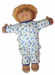 free printable pattern with tutorial for 17 inch Cabbage Patch Doll Pj's