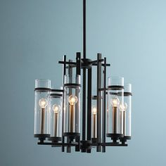 Clearly Modern Glass Tubes Mini Chandelier