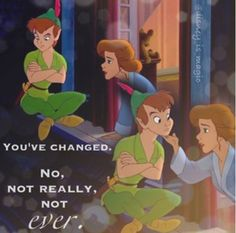 """Return to Neverland"" - Peter Pan and an adult Wendy. This is my favorite scene in the entire movie. It's so sweet!"