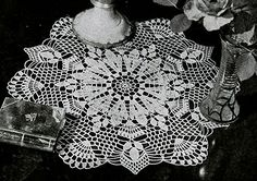 White Sapphire Doily crochet pattern originally published in Doilies, Spool Cotton Book 201.  #doilypatterns