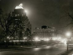 Night view of the Chase Park Plaza Hotel at Lindell and Kingshighway Boulevards seen from Forest Park. (1940)
