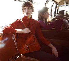 Red blouse with neck tie + red handbag // Gucci Fall 2015 Campaign Shot by Glen Luchford in Los Angeles, CA