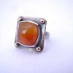 Carnelian Armor Shield Ring Silver Rose Gold Orange by panicmama