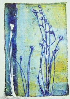 One secret to layering colors in gelatin printmaking - Linda Germain Nature Prints, Art Prints, Lino Prints, Block Prints, Gelli Plate Printing, Gelli Arts, Dusty Miller, Plate Art, Art Abstrait