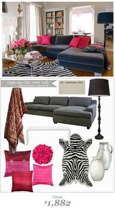 #CopyCatChicRoomRedo #LindseyBoyer #Pink Accented Living Room #KishaniPerera for only $1882