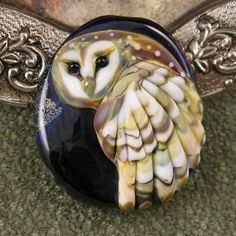 BONUS WEEK NEW Kerribeads Lampwork Barn Owl Focal by kerribeads, $165.00