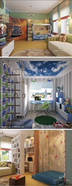 Study-Desk Design Ideas in Amazing Kids Bedrooms Cloud ceilling Rooms To Go Kids, Cool Kids Bedrooms, Awesome Bedrooms, Cool Rooms, Climbing Wall, Rock Climbing, Indoor Climbing, My New Room, House Rooms