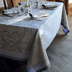 Garnier Thiebaut Luxuriance Alouette Runner 21 x 59 in - Alouette by Garnier-Thiebaut. $91.80. Luxuriance Alouette table linens feature an intricately detailed damask reminiscent of wallpaper. Woven on soft 100% cotton and treated with Green Sweet, so it is stain resistant. Mitered corners with plain hems. Machine wash and dry. Made in France by Garnier-Thiebaut. Allow 3 weeks for delivery; sorry, express shipping not available on this collection. Established in 1870, Garnier-...