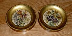 Vintage Floral Wall Art Florentia Hand Made Italy Gilt Frame Set Of Two