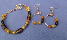 Bead earring and wire bracelet set stones gold by DoubleDzBeadz, $5.00
