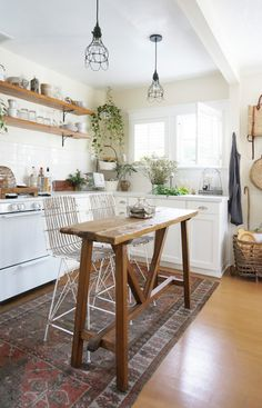 rustic, tiny kitchen that still makes roomful two