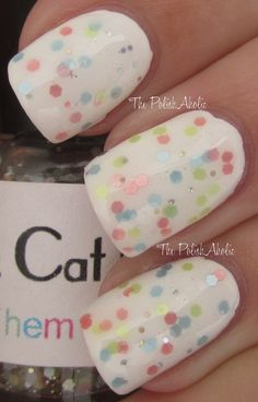 I own this polish and *love* it. It obviously looks great on white polish but it also looks fab on a pale pastel yellow and a light peachy cream. You can get it on etsy...she doesn't currently have it for sale but message her-- she's awesome. http://www.etsy.com/shop/BlackCatLacquer