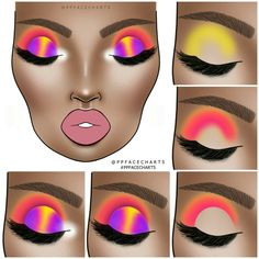 Image shared by Find images and videos about beauty, art and aesthetic on We Heart It - the app to get lost in what you love. Makeup Eye Looks, Eye Makeup Art, Dark Skin Makeup, Eye Makeup Steps, Eyeshadow Makeup, Neon Eyeshadow, Makeup Drawing, Creative Eye Makeup, Colorful Eye Makeup
