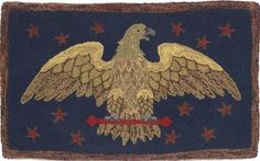 Hooked Rug with Eagle and Stars, wonderfully detailed spread winged eagle, seated on bar perch with blue background with 13 red five-pointed stars, and multicolored single border; 23″ x 38″.
