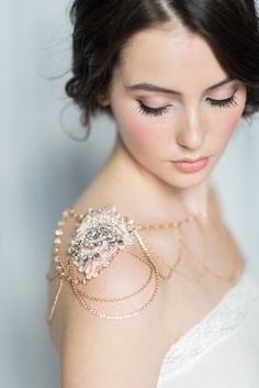 Rose gold crystal bridal shoulder necklace | Created by BlairNadeauMillinery