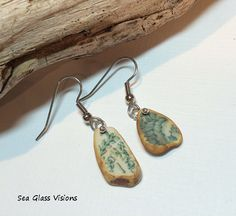 Earrings Sea Pottery Jewelry Green Floral by SeaGlassVisions, $24.00
