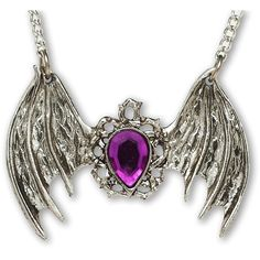 Gothic Bat Wings with Purple Tear Drop Stone Pewter Pendant Necklace ($13) ❤ liked on Polyvore featuring jewelry, necklaces, tear drop necklace, wing pendant necklace, teardrop pendant necklace, purple stone jewelry and wing necklace