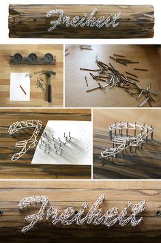wood, yarn, nails