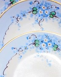 Set 3 Antique Stouffer Dessert Plates Forget me Not: French Garden House