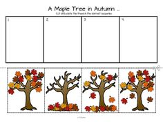 This is a sequencing activity and discussion starter featuring a maple tree in fall& for preschool, pre-K and Kindergarten. I have included a color copy, a b& copy, and a coloring page, where leaves can be colored separately in various Fall colors. Fall Preschool Activities, Sequencing Activities, Preschool Lessons, Preschool Crafts, Sequencing Pictures, Story Sequencing, Autumn Art, Autumn Theme, Autumn Leaves