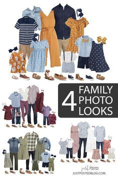 Are you looking for what to wear for family pictures? I've got you covered with 4 different family picture look options! What to wear ideas that include everything from babies to teens. Hopefully these coordinating looks will make what to wear for family photos so much easier. Each look has links included and 4 completely different color schemes for Family Pictures!