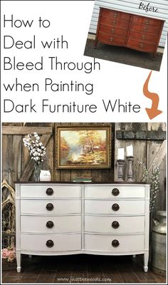 How to deal with bleed through when painting furniture. Often painting dark furniture white can lead to bleed through issues. See how we tackled the bleed through in this painted farmhouse dresser makeover