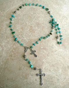 Southwestern Blue/Green Turquoise Nugget Antique Silver Holy Mother Rosary
