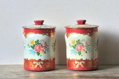 Vintage Tin Candy Canisters Matching Set Red Floral by ivorybird, $24.00