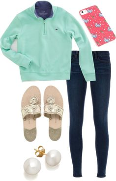 simple and comfy! by the-southern-prep featuring pearl earrings ❤ liked on PolyvoreJ Brand , $405 / Jack Rogers flat shoes / Pearl earrings, $755 / Boys Pullovers: 1/4 Zip Pullover Jersey for Boys – Vineyard Vines