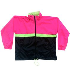 Bold 90s Dual Neon Active Spirit Shell Windbreaker - M ($45) ❤ liked on Polyvore featuring activewear, activewear jackets, jackets and neon activewear