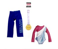 Raising the Bar gymnastics outfit for the Lottie doll - http://www.lottie.com/collections/all-products/products/raising-the-bar-gymnastics-clothes-outfit-for-lottie-doll