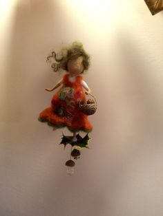 Needle felted Fairy Waldorf inspired Wool Autumn fairy with a basket Forest fairy Mobile Home décor Orange Miniature doll