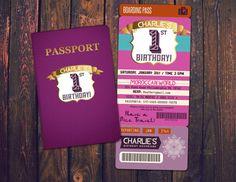 PASSPORT and TICKET birthday invitation Girl  by LyonsPrints